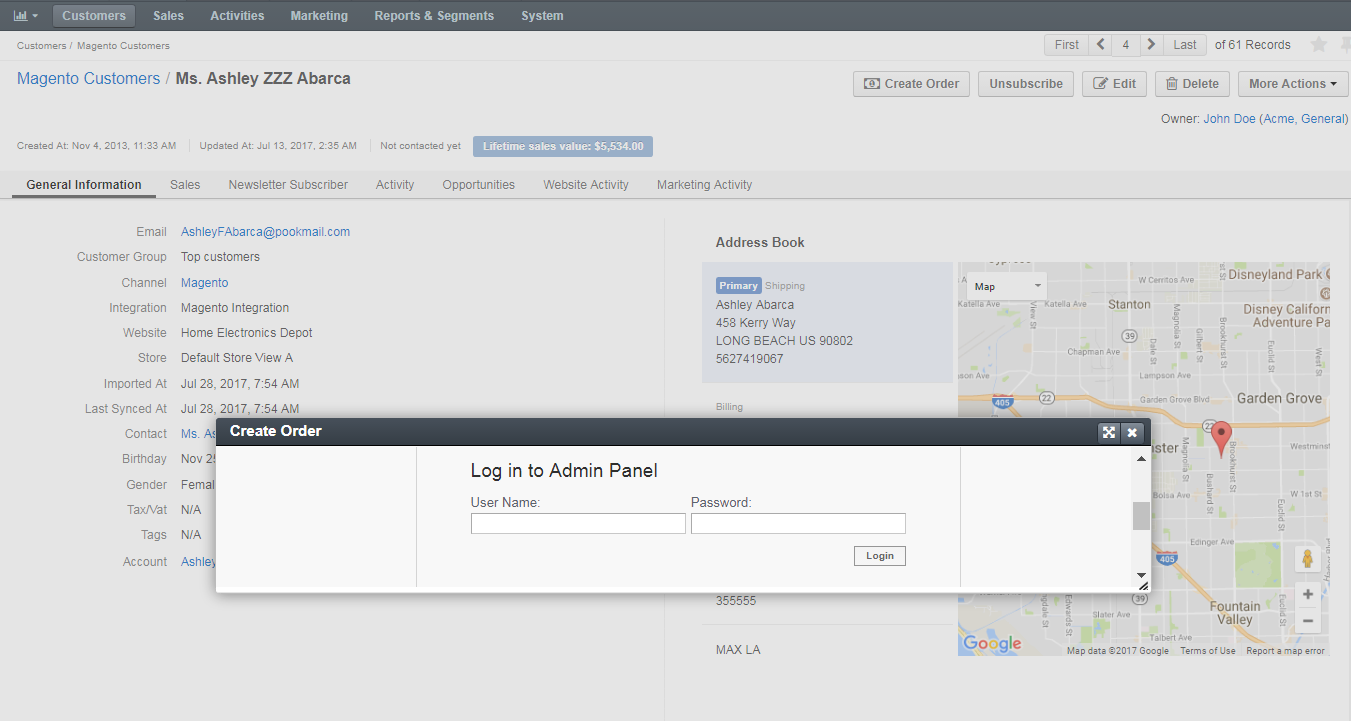 The dialog displaying that log in form for the magento admin panel
