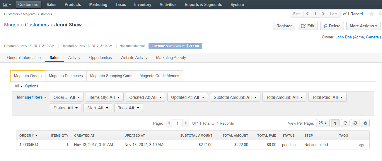View magento orders