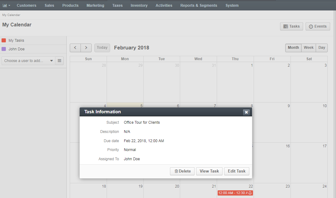Task information on calendar pages