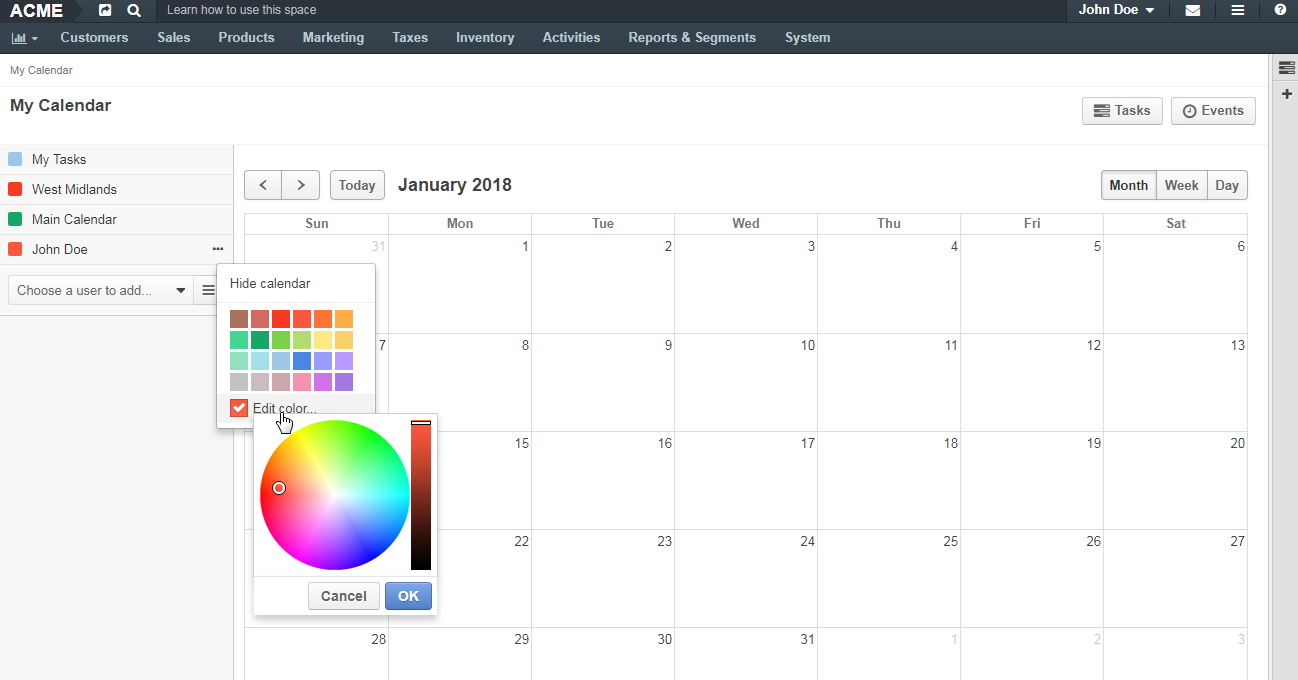 Change calendar color