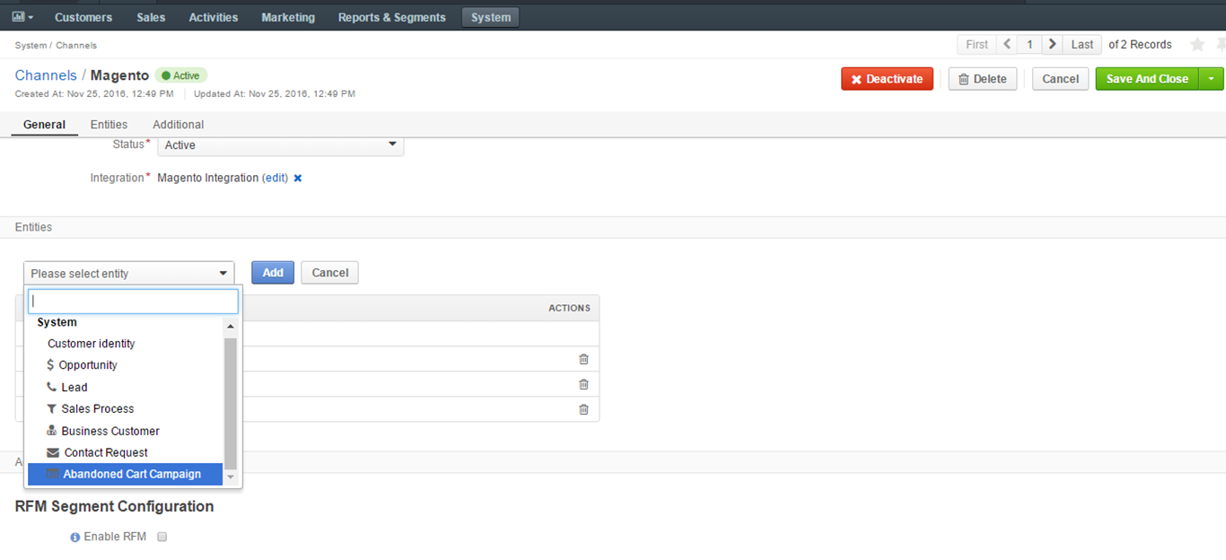 Selecting the abandoned cart campaign entity in the Magento channel