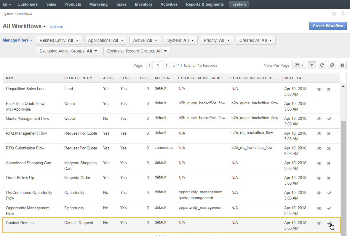 Activate contact request workflow from that table of all workflows