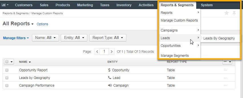 Reports and segments menu