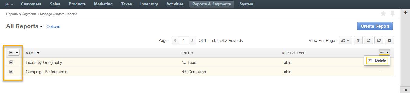 Delete multiple custom reports
