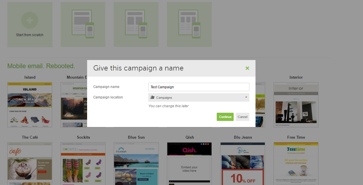 A dialog window prompting to provide a name for the campaign in dotmailer