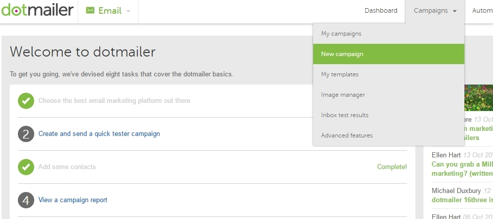 Creating a new campaign by clicking new campaign in the campaigns menu in dotmailer
