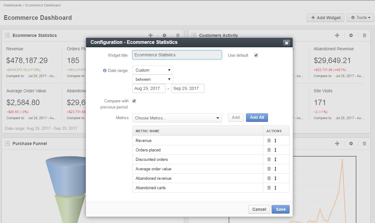 Ecommerce statistics widget configuration
