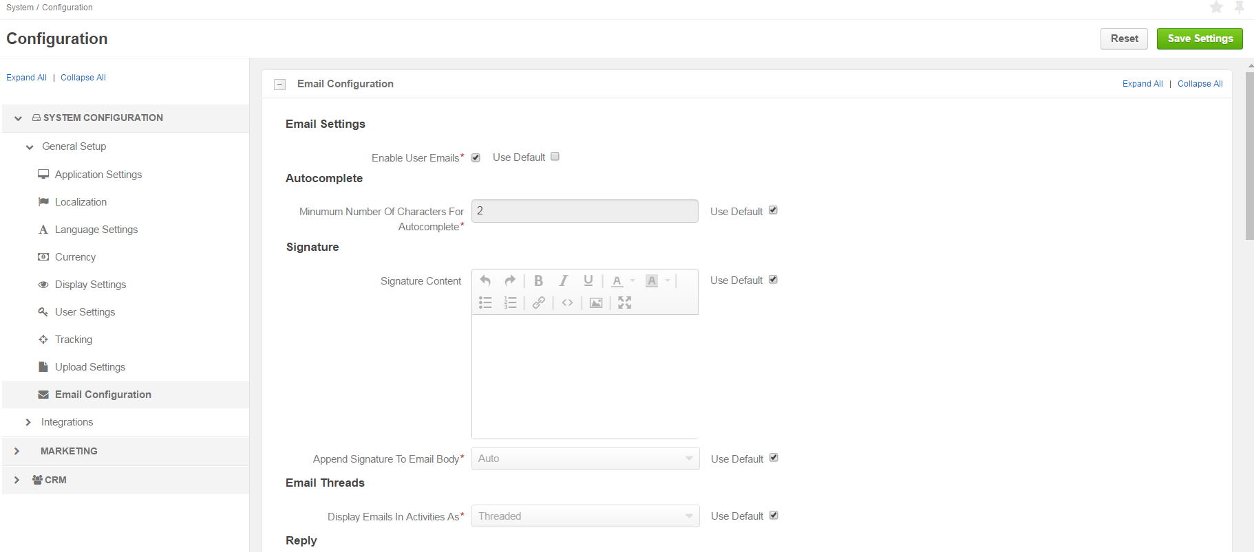 Email configuration options overview, part 1