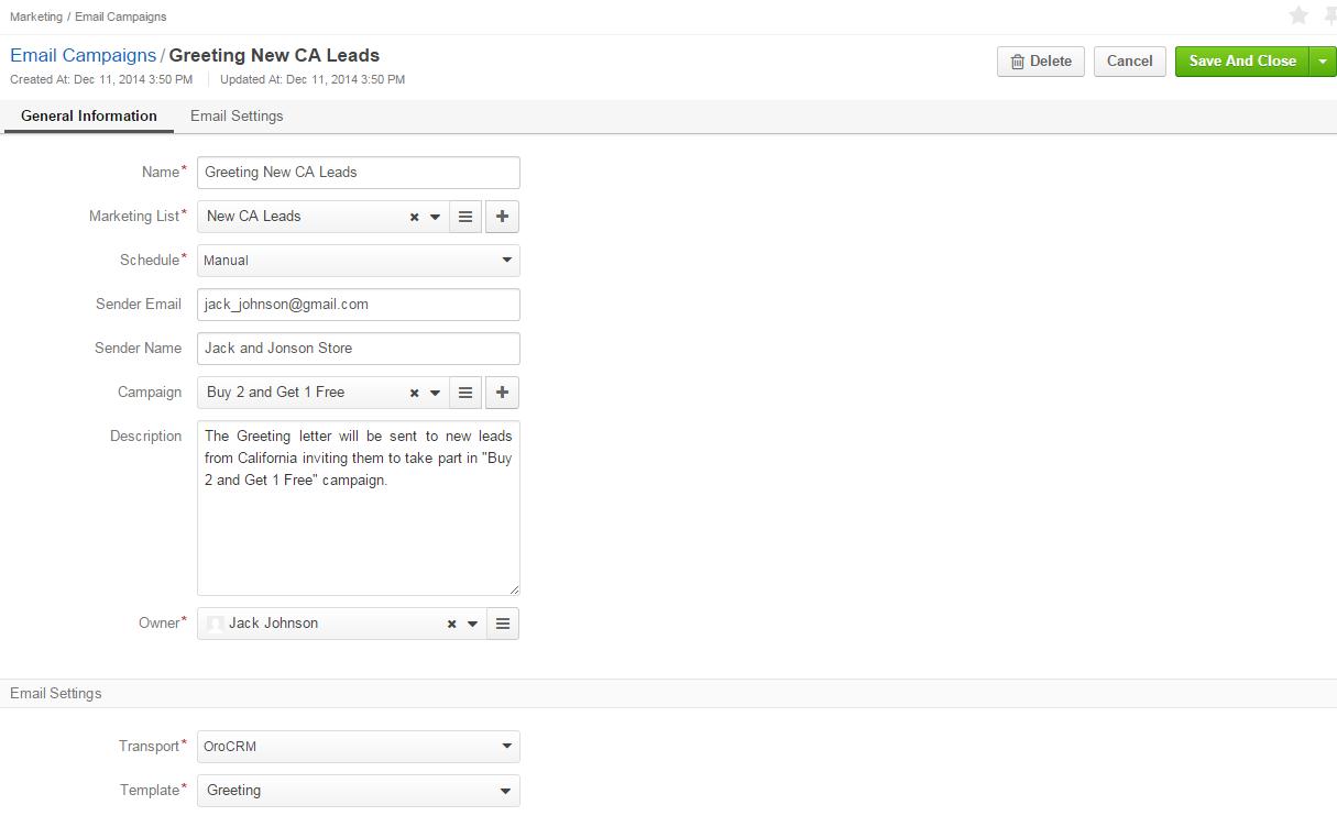 Mailing settings