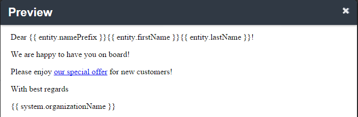 Preview of an email template