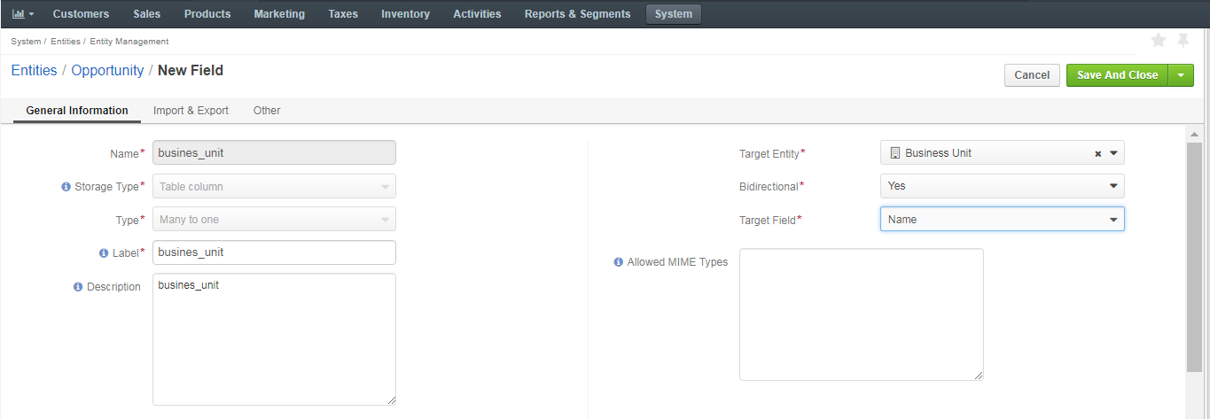 Settings available in the general information section when creating a new field for an entity