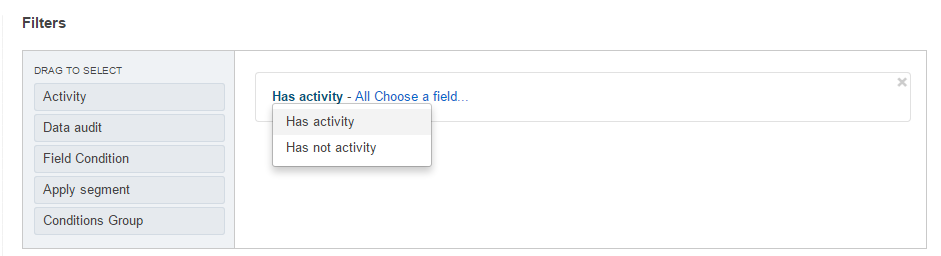 The activity filter and its selectors
