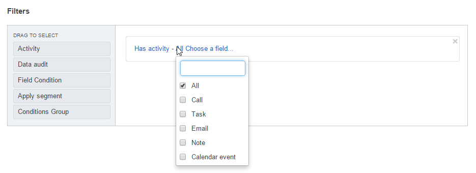 The list of available activities to filter by