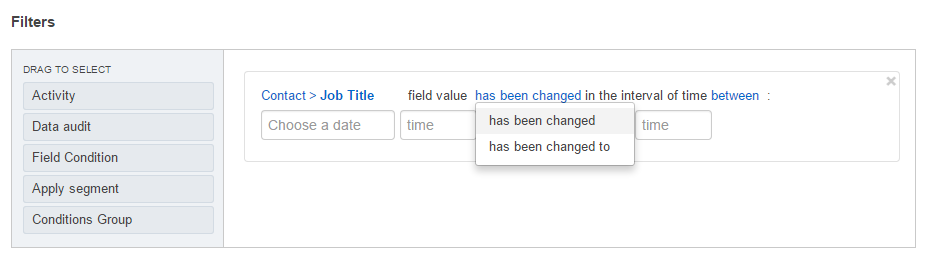 The condition valid for the records with the field has or has not been changed