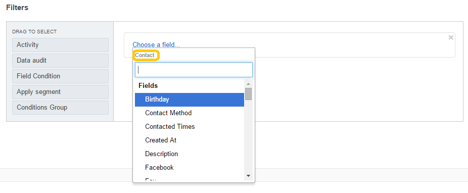 Example of the list of fields filtered for a contact