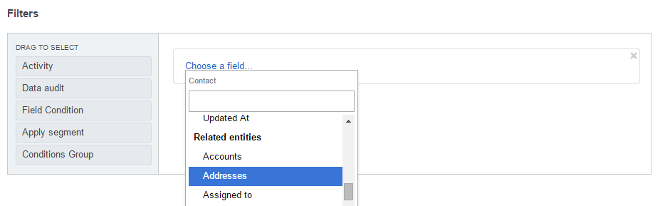 Scroll down the list and select this field under the Related Entities header