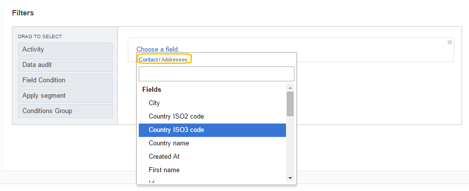 The name of the selected field appears at the top of the list