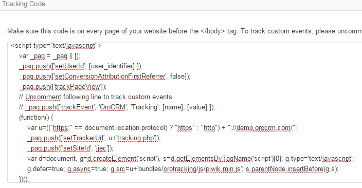 The generated tracking code for a website