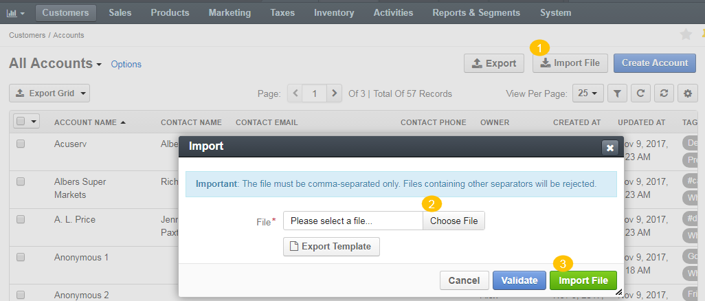 Import form