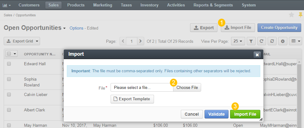 Import a bulk of opportunity information