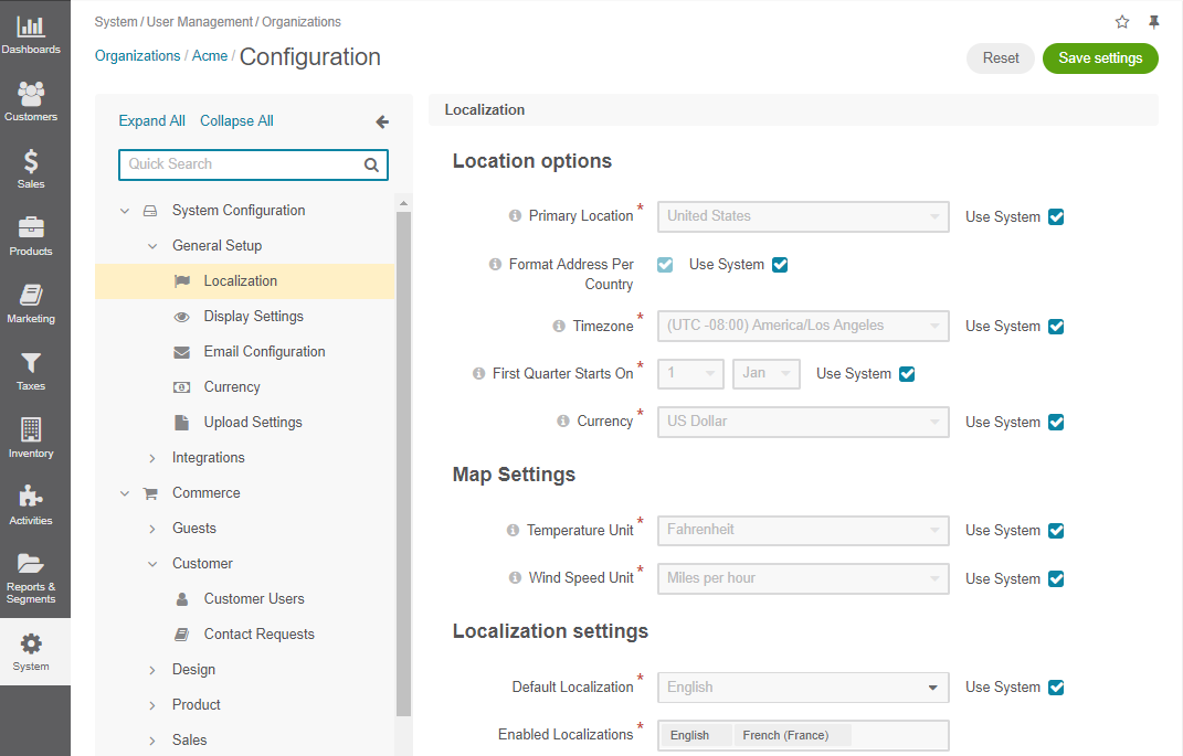 Localization configuration options per organization
