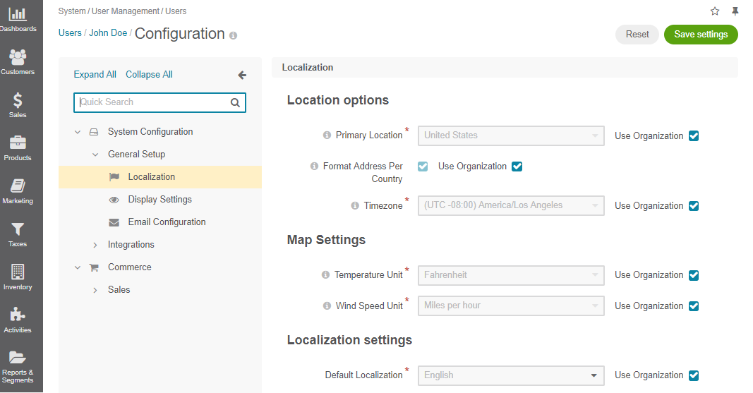 Localization configuration options per user