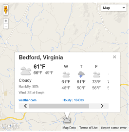 Weather on a map