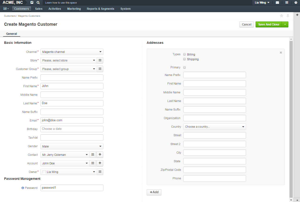 Create magento customer record