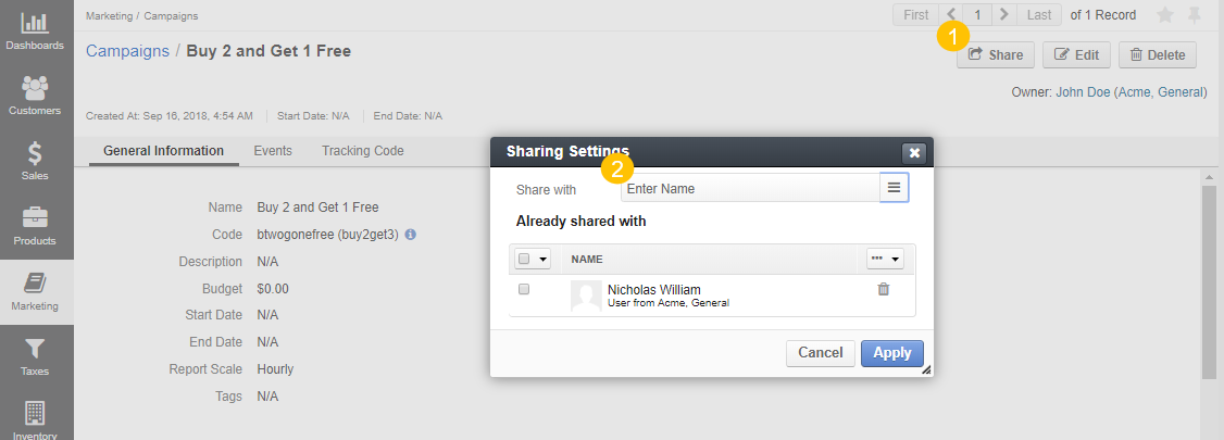 The sharing settings popup of a marketing campaign