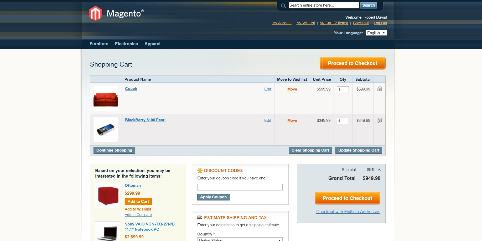 Details of the cart created on the Magento side