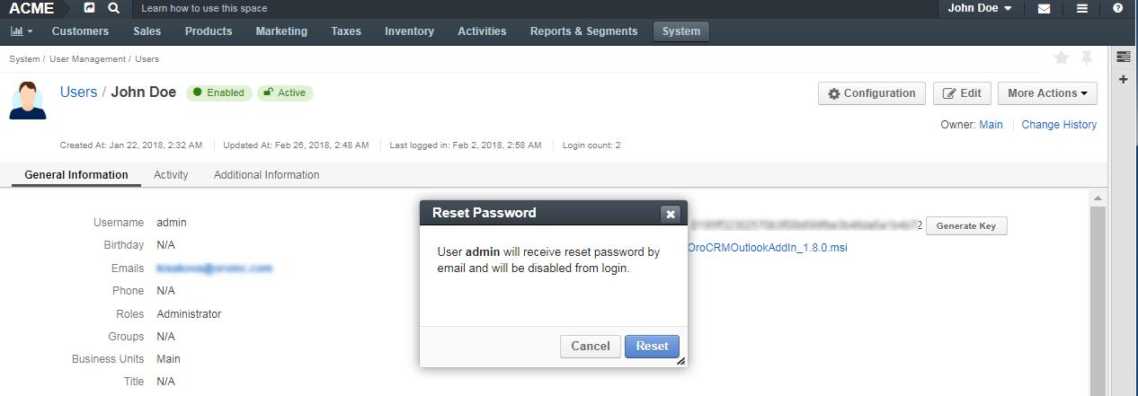 Reset password notification dialog