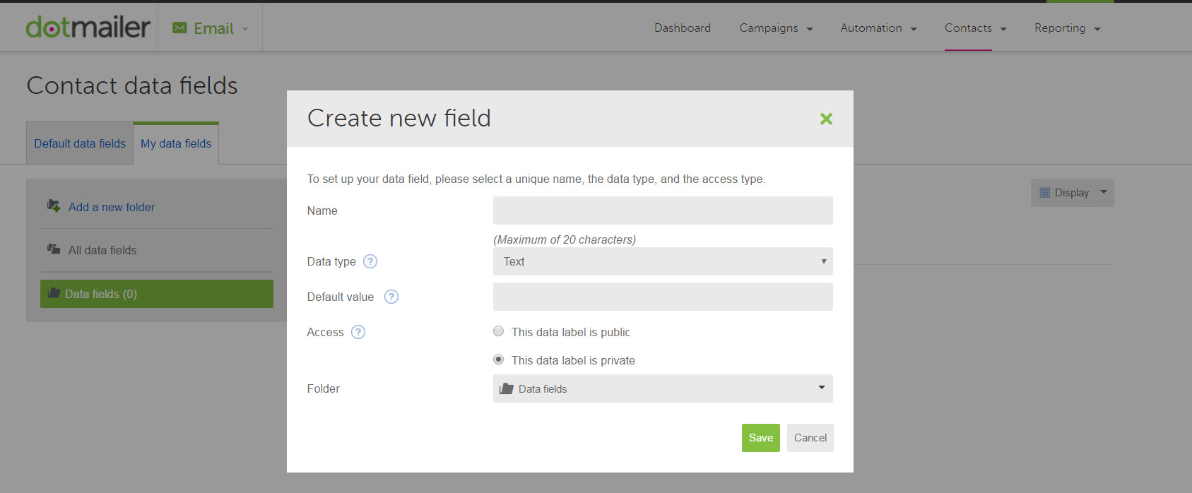 Creating a new data field in dotmailer