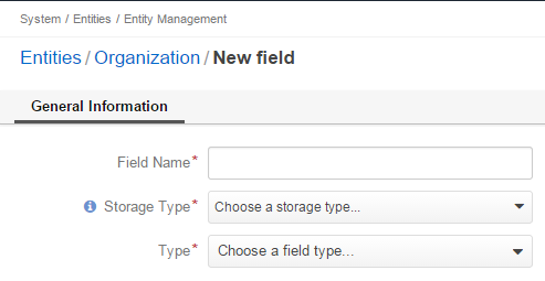 Basic properties available when creating a new field for an entity