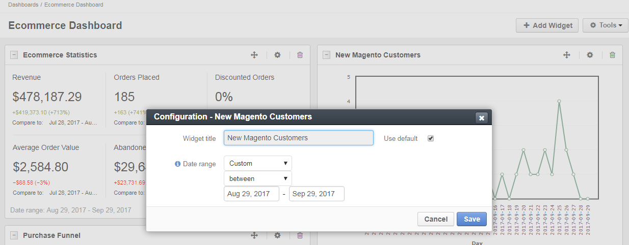 New magento customers widget configuration