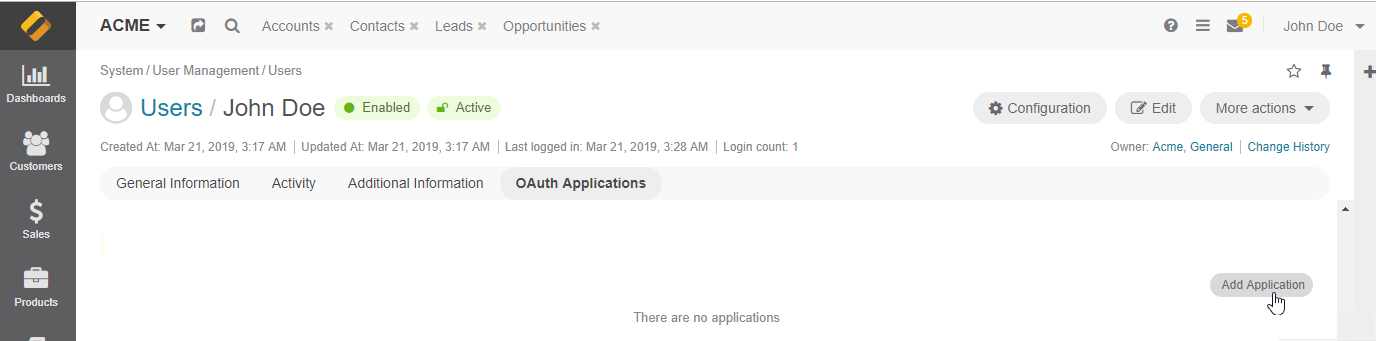 Add an oauth application