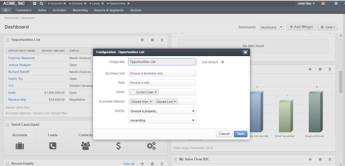 Opportunities list widget configuration