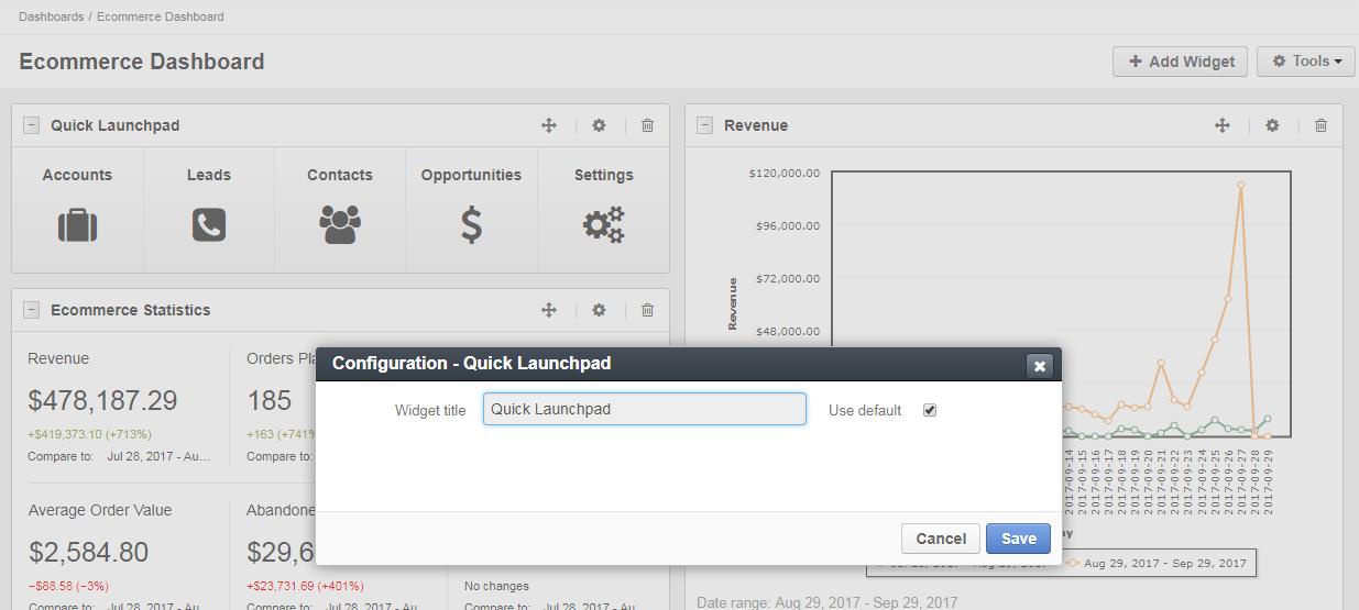 Quick launchpad widget configuration