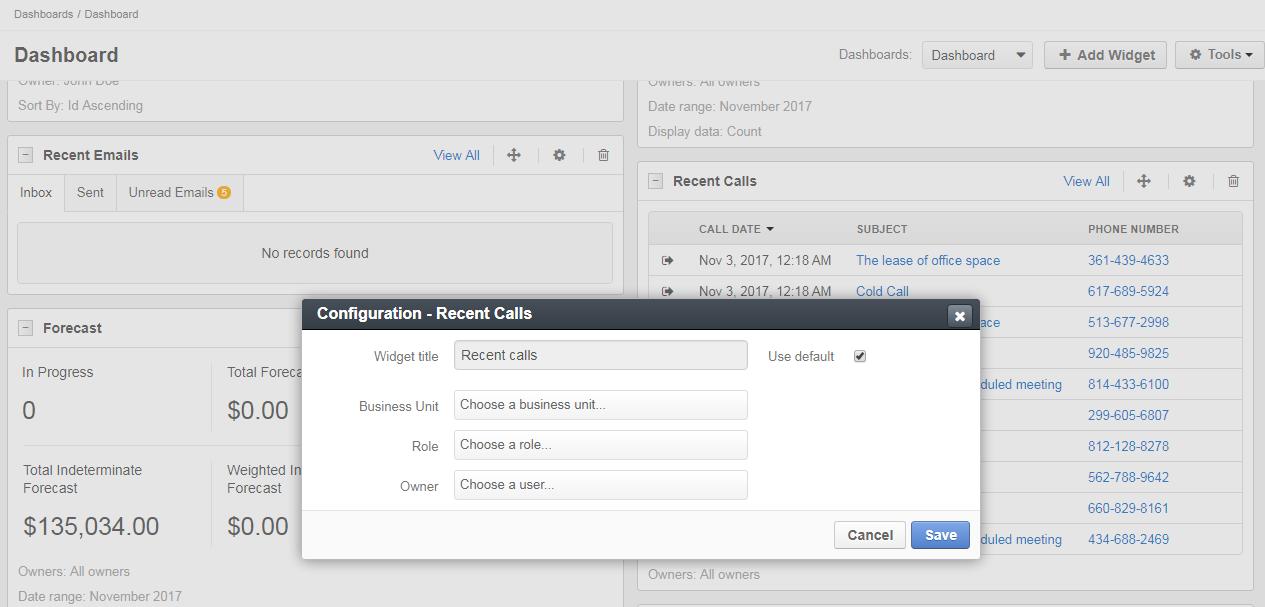 Recent calls widget configuration