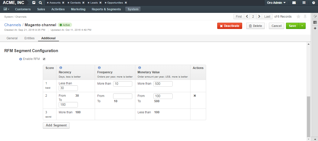 Configure RFM for the existing channel