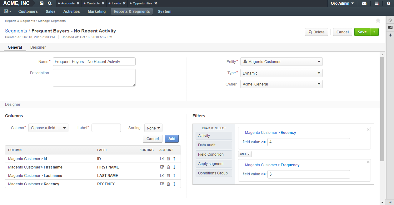 Create a segment based on RFM metrics