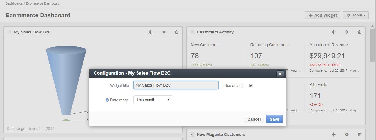 My sales flow b2c widget configuration