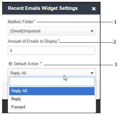 Configure the recent emails sidebar widget