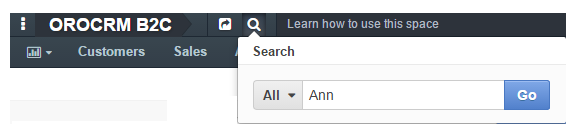 Using the search icon to look for a name