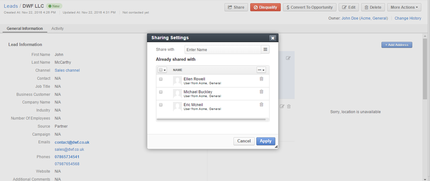 Sharing settings dialog for a lead