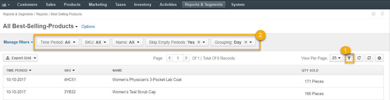 Configure a new report and display the configurable fields