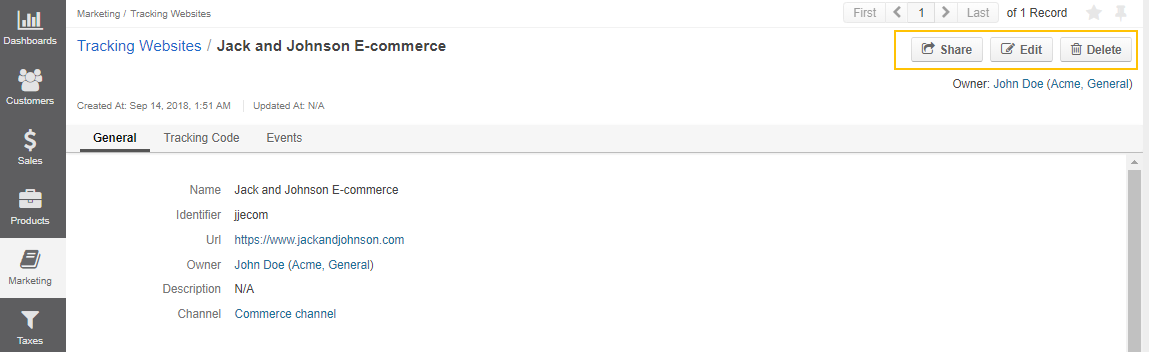 Actions that are available from the tracking websites' details page