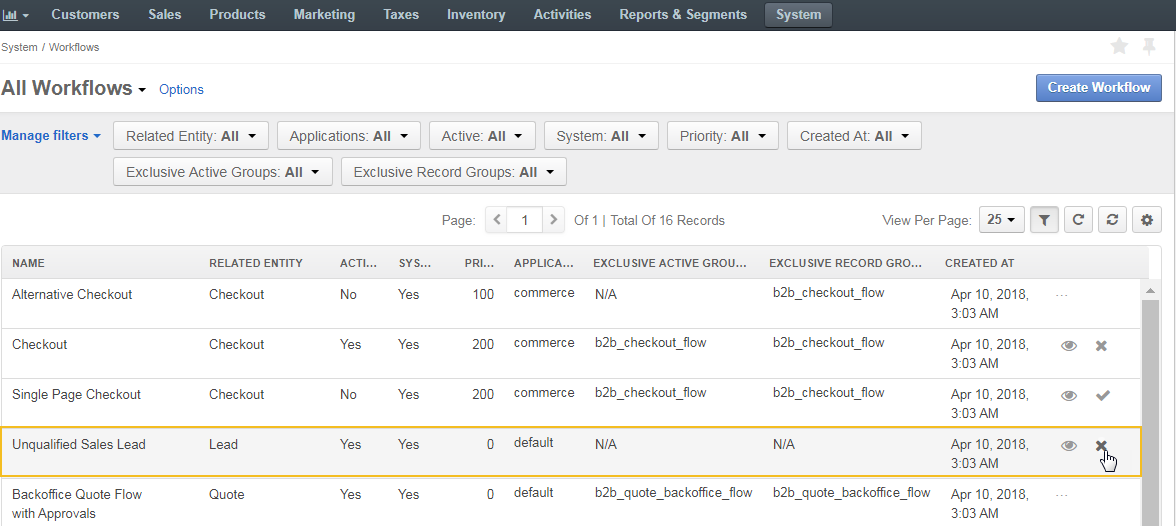Deactivate unqualified sales lead workflow from the table of all workflows